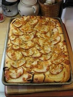 Focaccia with Caramelized Onions, Pear and Bleu Cheese