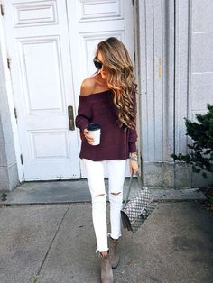 Fall outfit - off shoulder sweater and white pants