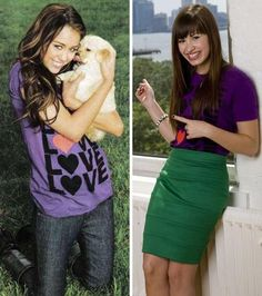 Miley and Demi.             Demi stared in movies camp rock and camp rock 2 the final jam!