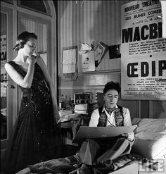 Artist Jean Cocteau sketching model Elizabeth Gibbons in a Chanel dress.