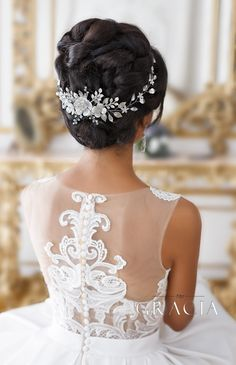All about wedding: Wedding Hairstyles - Results of the Successful Cooperation between ESTEL and Top Gracia at Your Full Disposal #bridalhair #bridalhairflowers #weddingheadpiece #bridalheadpiece #rhinestoneheadpiece #promheadpiece #crystalhairpiece