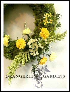 Spring Moss Wreath Preserved Moss Lemon Carnations Babies Breath