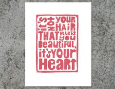 Your Beautiful Heart  - Cancer Inspired Salmon Pink 8x10 Linocut Print