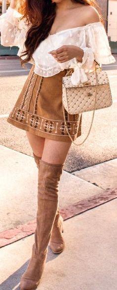 58 Jawdroppingly Cheap Spring Oufit You Must Buy - Style Spacez Fashion 101, Modern Fashion, Latest Fashion For Women, Fashion News, Womens Fashion, Long Pink Skirt, Bohemian Chic Fashion, Boho Chic, White Off Shoulder Top