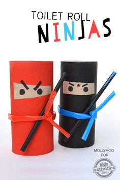 My daughter and I had SO MUCH FUN making ninjas out of toilet rolls and straws this evening!
