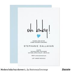 Modern oh boy baby shower invitation