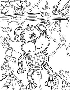 Free printable Safari Animal Coloring Pages from Doodle Art Alley Monkey Coloring Pages, Doodle Coloring, Animal Coloring Pages, Coloring Book Pages, Printable Coloring Pages, Free Coloring, Coloring Pages For Kids, Doodle Pages, Doodle Art