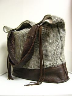 Large Upcycled Leather and Wool Tweed Bag. $110.00, via Etsy.