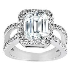 Pave Set Split Band Emerald Cut Diamond Butterfly Engagement Ring 0.66 tcw. $1750