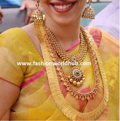 love the gold beads instead of pearls. Jewellery Designs: Bride in Evergreen Traditional Jewelry South Indian Jewellery, Indian Wedding Jewelry, Indian Jewellery Design, Indian Bridal, Indian Jewelry, Bridal Jewelry, Jewellery Designs, Jewellery Shops, Jewelry Patterns
