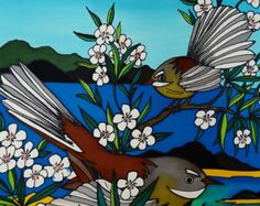 Fantails in Manuka - beautiful art print by New Zealand artist Jo May, fits frame matted in white, full gloss, wrapped. New Zealand Art, May Designs, Kiwiana, Silk Painting, All Art, Birds, Hand Painted, Colours, Art Prints