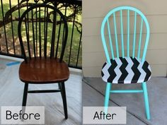 Spunky Seating  We're willing to bet that most American homes have plain-Jane wooden dining chairs. Be different and turn yours into funky statement pieces with a black-and-white chevron pattern.
