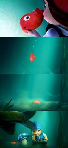 Juliet: Be free. Fish: Thank you! Fish: *Sinks* Gnomeo and Shroom later gets…