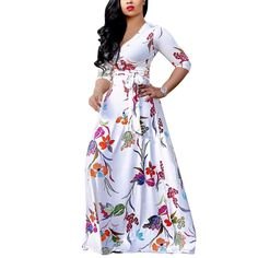 2017 Spring Autumn women Large size Maxi dress Casual White Half Sleeve  vintage flowers print party long dress V Neck Sexy cfba6351436d