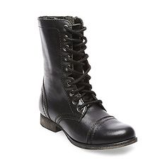 Steve Madden Womens Troopa LaceUp Boot Black Leather 55 M US * Want to know more, click on the image. (This is an affiliate link)