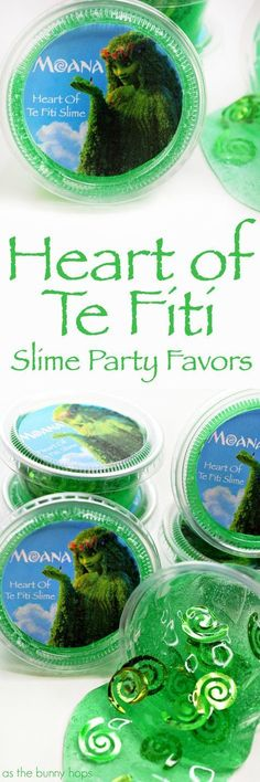 These Heart of Te Fiti Slime Party Favors are perfect for a Moana-inspired birthday party! Printable included along with shopping links!