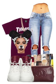 """""""Thrasher"""" by ballislife ❤ liked on Polyvore featuring BaubleBar, NIKE and Lime Crime"""