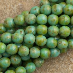 100 Czech 6mm Pressed Glass Round Opaque Turquoise Picasso Beads 63130T