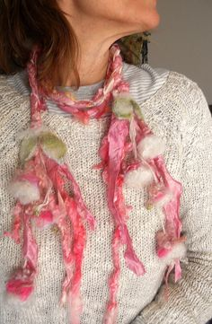 scarf enchanted forest fiber braid lariat  soft by beautifulplace