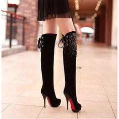 Womens Boots | Elegant Suede Rhinestone Black Round Closed Toe Stiletto Super High Heel Boots - Hugshoes.com