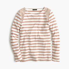 Striped suede-shoulder T-shirt : Long sleeve   J.Crew