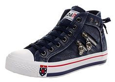 awesome iMaySon Gals Cranium Modern Zipper Shoes Lace-up Flats Canvas Sneakers(five.five B(M) US, Navy)
