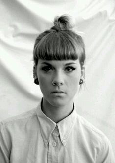 micro fringe with bun hairstyle