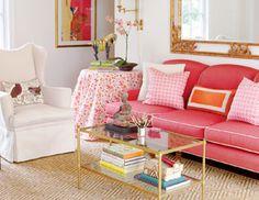 pink sofa with contrast piping and diamond sisal rug