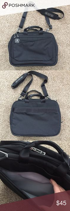Ogio Black Laptop/Messenger Bag Ogio Black Laptop/Messenger Bag - like new condition! This bag is incredibly clean inside and out (has a few spots on bottom of bag - see photos). This bag has pockets and compartments for just about everything! Also has a padded laptop area. Ogio Bags Laptop Bags