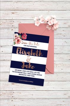 Rose Gold Save The Date Card Watercolor Save the by BohemePrints