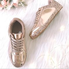 Shoes - Womens Sneaker Glitter Rose Gold Patent Leather