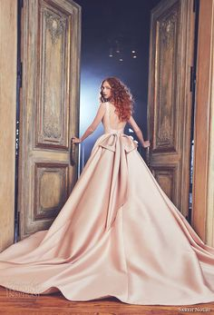 Bateau Neckline Full Ball Gown Low Back Wedding Dress by Sareh Nouri - Image 2 zoomed in Elegant Ball Gowns, Elegant Wedding Gowns, Wedding Dresses 2018, Classic Wedding Dress, Glamorous Wedding, Bridal Dresses, Debut Gowns, Dress Vestidos, Bridal Fashion Week