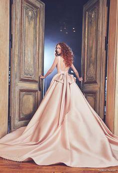 sareh nouri spring 2018 bridal sleeveless bateau neckline simple clean pink color elegant ball gown a  line wedding dress open square back royal train (brooklyn) bv -- Sareh Nouri Spring 2018 Wedding Dresses