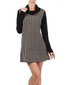 Look at this #zulilyfind! Taupe Chevron Cowl Neck Dress - Women by Hail3y:23 #zulilyfinds
