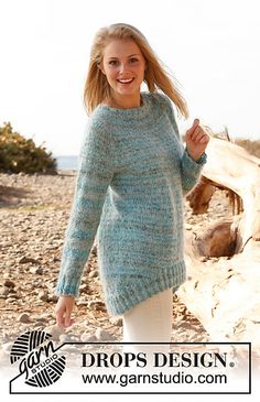 Ravelry: 148-17 Skagen - Top down jumper with raglan in Fabel, Kid Silk and Glitter pattern by DROPS design