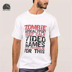 >> Click to Buy << EnjoytheSpirit 2017 Summer T-shirt Digital Printing Zombie Apocalypse Gamers Keep Calm Funny T-shirt Men's Round Neck T Shirt #Affiliate