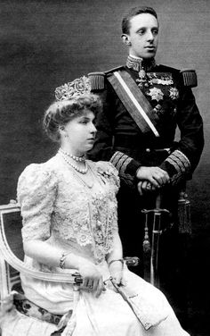 Wedding photograph of King Alfonso XIII and Queen Victoria Eugenia of Spain. Eugenie of Battenberg of Batternberg XII of Spain Wedding