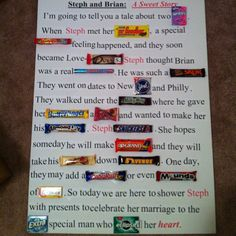 Candy board poem for bridal shower!:) Thanks to Patty for the idea!