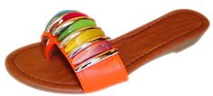 Peach Couture MILA Exotic Getaway Open-Back Colorful Stone Embellished Sandal (5, Orange)