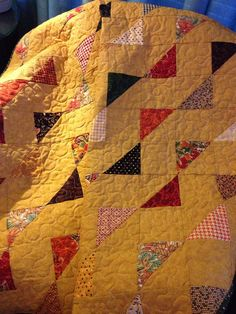 A Fall Palette 47 X 61 Flag Patterned Quilt by WrappingYouInWarmth, $143.00