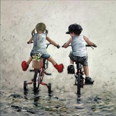 Thrills and Spills von Keith Proctor - Malerei Diy Hooks, Bicycle Art, Painting People, Portrait Art, Beautiful Paintings, Belle Photo, Art Pictures, Cute Art, Cute Kids