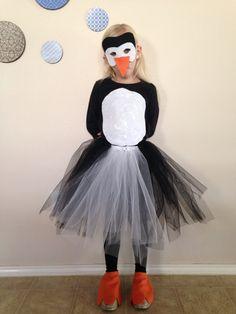 Homemade penguin costume.