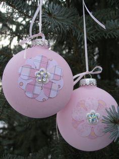 HandPainted Pink & Orange Glass Ornaments by TreeTownPaper on Etsy, $20.00