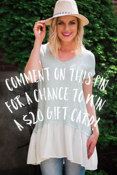 Make sure that you comment on this post to be entered to win! Tell us what style you're LOVING this summer!  To be entered you must also: 1) follow us! 2) repin your favorite product from our Claire Clark Boutique Board!  #claireclarkboutique #ccb #ccbstyle