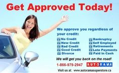 Car Loan available for good credit & bad credit. We offer Special rates as low as 4.99%, $0 Down, No Payments for 6 months (O.A.C). Click on the image to apply or call us at 1-866-979-2947 for further information.