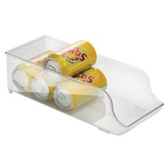 Unique InterDesign Kitchen Fridge and Pantry Organizer Soda Can Holder Clear New in M bel u