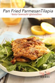An easy weeknight meal that is high in protein, low in fat and carbs, this will be your family's new favorite recipe for pan fried tilapia fish. #keto #lowcarb #tilapia #fish #seafoodrecipes