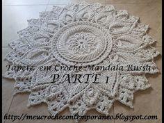 Tapete em Crochê Mandala Russa, parte 1 - YouTube Crochet Mat, Crochet Rug Patterns, Crochet Carpet, Crochet Mandala Pattern, Crochet Diagram, Thread Crochet, Crochet Doilies, Crochet Flowers, Crochet Stitches