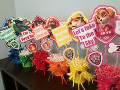 DIY centerpieces for my daughter's Paw Patrol party.: