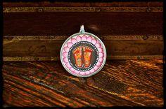 Indian Vishnus Feet Painting Pendant by CosmicNorbu on Etsy